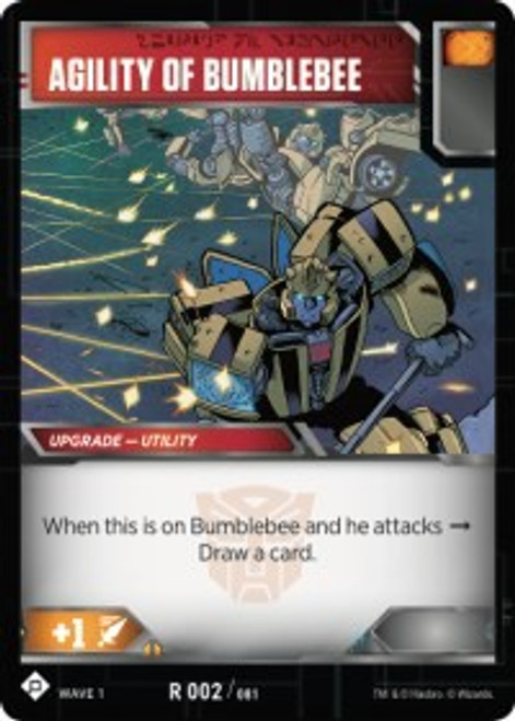 Transformers Trading Card Game Wave 1 Rare Agility of Bumblebee #002