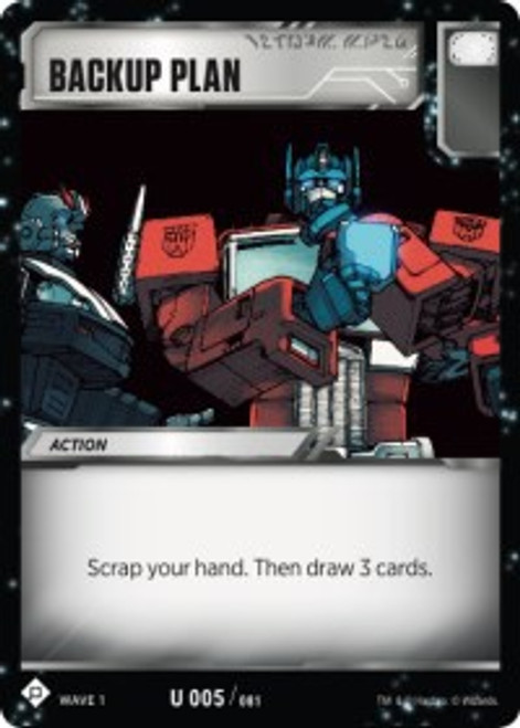Transformers Trading Card Game Wave 1 Uncommon Backup Plan #005
