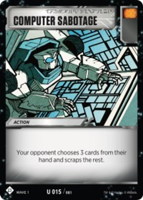 Transformers Trading Card Game Wave 1 Uncommon Computer Sabotage #015