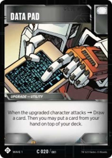 Transformers Trading Card Game Wave 1 Common Data Pad #020