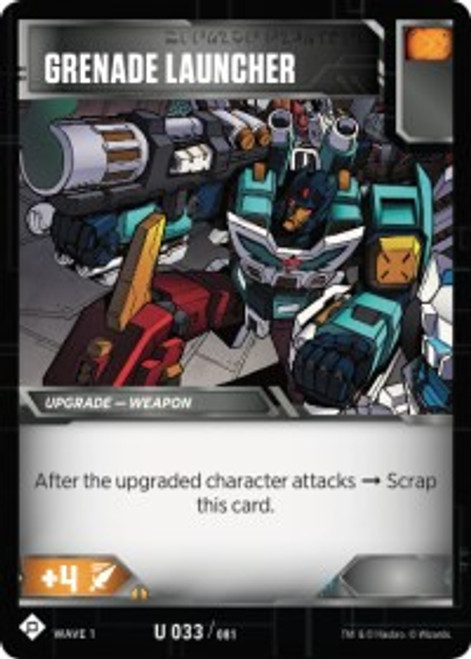 Transformers Trading Card Game Wave 1 Uncommon Grenade Launcher #033