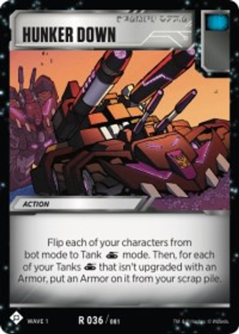 Transformers Trading Card Game Wave 1 Rare Hunker Down #036