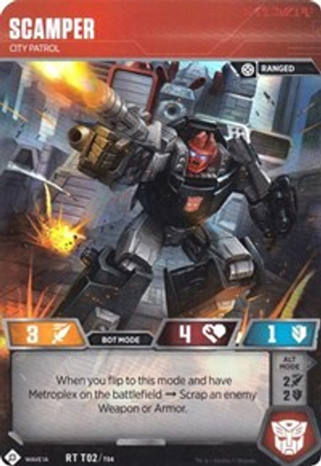 Transformers Trading Card Game Wave 1A Metroplex Rare Scamper - City Patrol T02