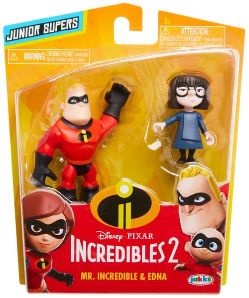 Disney / Pixar Incredibles 2 Junior Supers Mr. Incredible & Edna 3-Inch Mini Figure 2-Pack