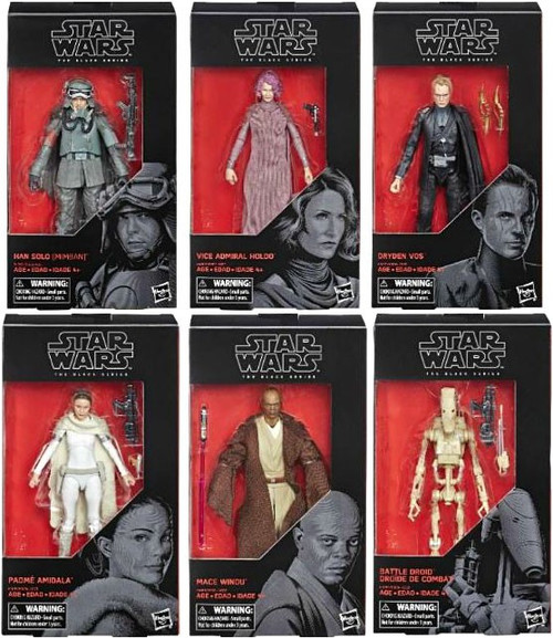 Star Wars The Last Jedi Black Series Wave 31 Han Solo, Dryden Vos, Padme Amidala, Battle Droid & Mace Windu Set of 6 Action Figures