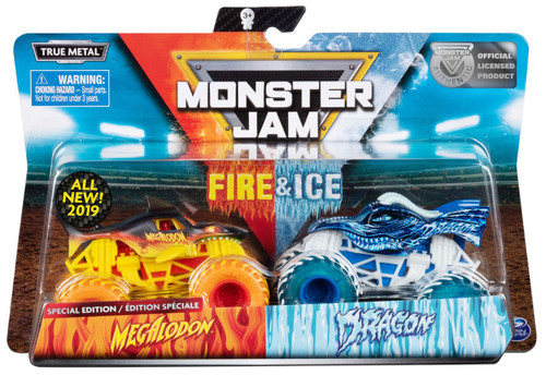 Monster Jam Fire & Ice Megalodon & Dragon Exclusive Diecast Car 2-Pack