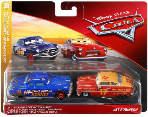 Disney / Pixar Cars Cars 3 Doc's Racing Days Dirt Track Fabulous Hudson Hornet & Jet Robinson Diecast 2-Pack