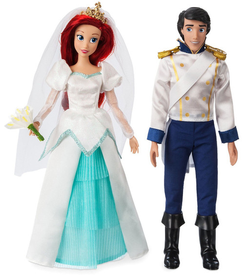 Disney Princess The Little Mermaid Classic Ariel & Eric Exclusive 11.5-Inch Wedding Doll 2-Pack Set