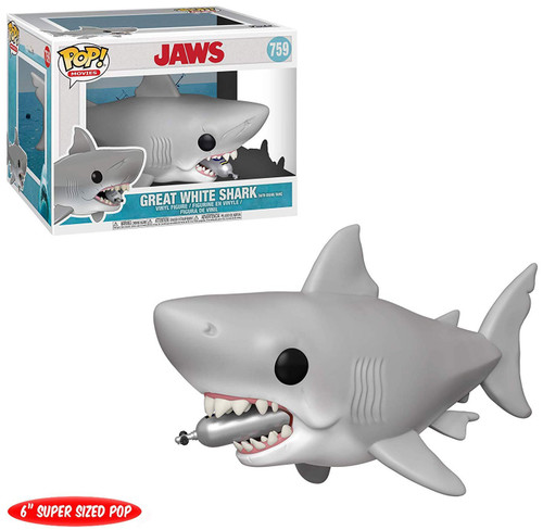 Funko Jaws POP! Movies Great White Shark 6-Inch Vinyl Figure #759 [Super-Size, Diving Tank in Mouth]