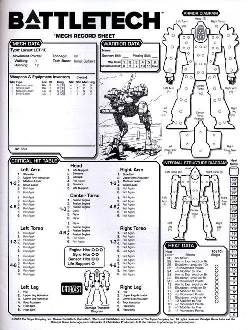 BattleTech Record Sheet Booklet [16-Pages]