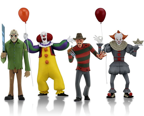 NECA Toony Terrors Series 1 Freddy, Jason, Pennywise (1990) & Pennywise (2017) Set of 4 Action Figures