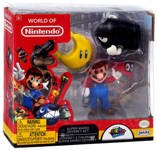 World of Nintendo Super Mario Odyssey Mario with Cappy, Power Moon & Bullet Bill Exclusive 2.5-Inch Mini Figure 3-Pack