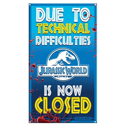 Jurassic World Ride Closed 8-Inchx14-Inch Medium Metal Sign
