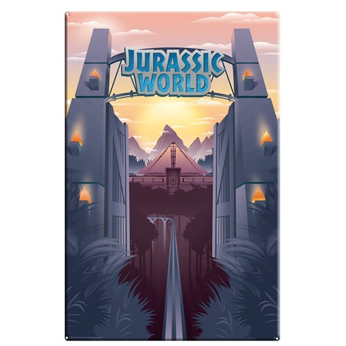 Jurassic World Park Gates 10-Inchx16-Inch Large Metal Sign