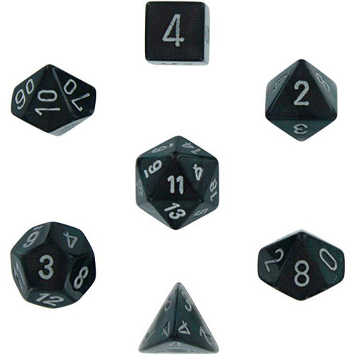 Chessex Borealis Smoke with Silver Numbers Polyhedral 7-Die Dice Set