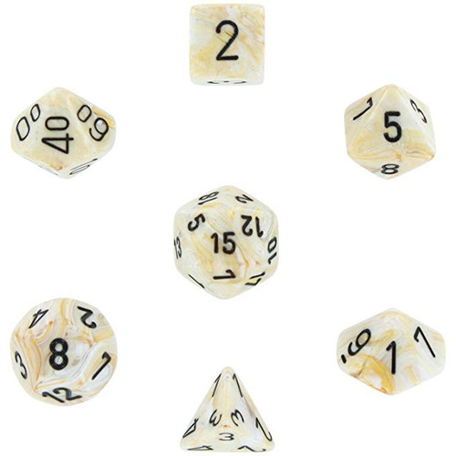 Chessex Marble Ivory with Black Numbers Polyhedral 7-Die Dice Set
