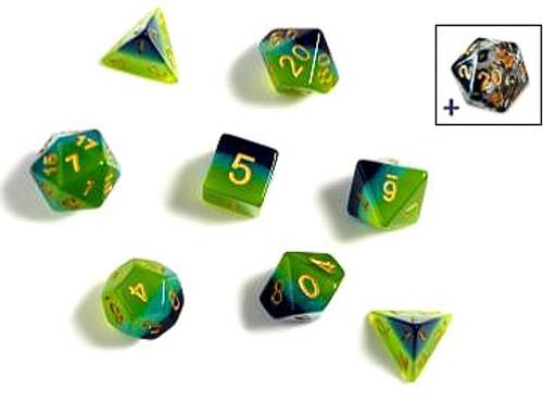 Sirius Dice Translucent Green & Blue Polyhedral 7-Die Dice Set