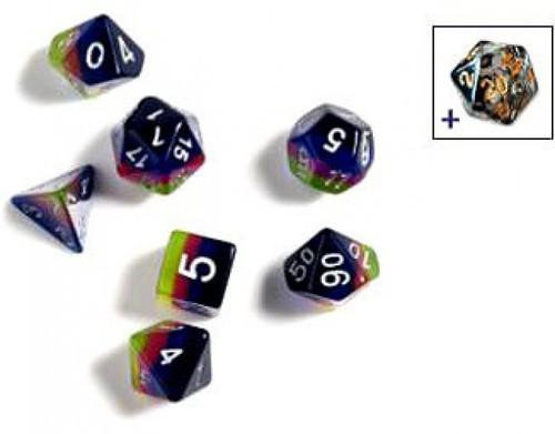 Sirius Dice Pink, Green & Blue Polyhedral 7-Die Dice Set