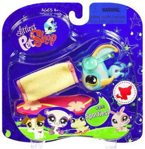 Littlest Pet Shop 2009 Assortment B Series 2 Angelfish Figure #831 [Blue with Surf Board, Damaged Package]