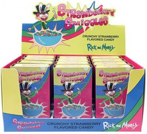 Rick & Morty Strawberry Smiggles Box Of 12 Candy Tins