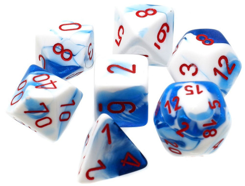 Chessex Gemini Atral Blue-White with Red Numbers Polyhedral 7-Die Dice Set