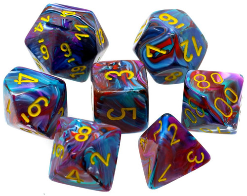 Chessex Festive Mosaic with Yellow Numbers Polyhedral 7-Die Dice Set