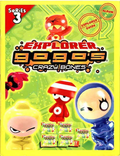 Crazy Bones Gogo's Series 3 Explorer Sticker Album and 5 Booster Packs Bundle