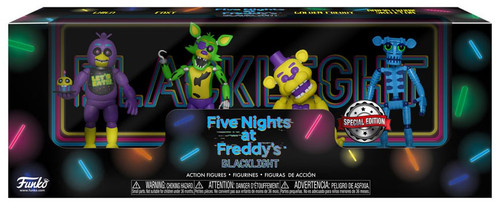 Funko Five Nights at Freddy's Blacklight Chica, Foxy, Golden Freddy & Animatronic Skeleton Exclusive 2-Inch Mini Figure 4-Pack