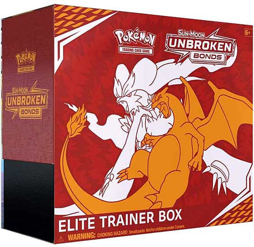 Pokemon Trading Card Game Sun & Moon Unbroken Bonds Reshiram / Charizard Elite Trainer Box [8 Booster Packs, 65 Card Sleeves, 45 Energy Cards & More]