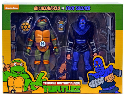 NECA Teenage Mutant Ninja Turtles Michelangelo & Foot Soldier Exclusive Action Figure 2-Pack