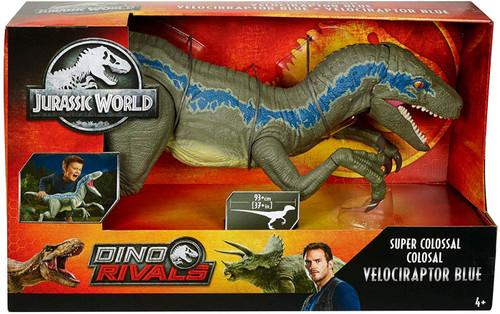 Jurassic World Dino Rivals Velociraptor Blue Super Colossal Action Figure