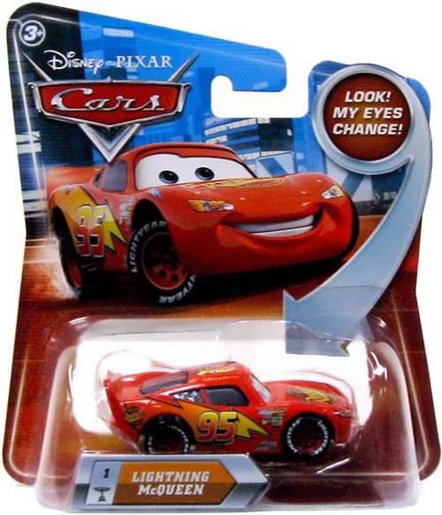 Disney / Pixar Cars Lenticular Eyes Series 2 Lightning McQueen Diecast Car [Damaged Package]
