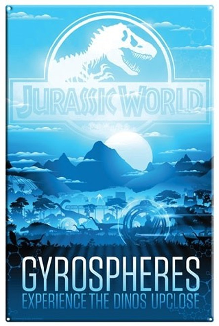 Jurassic World Gyrospheres 10.5-Inchx16-Inch Large Metal Sign