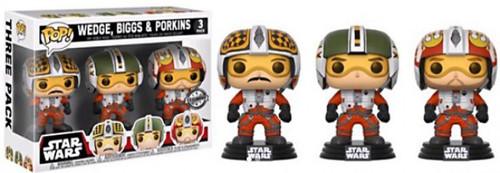 Funko POP! Star Wars Wedge, Biggs & Porkins Exclusive Vinyl Bobble Head 3-Pack [X-Wing Pilots, Damaged Package]