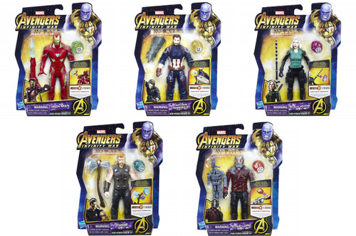 Marvel Avengers Infinity War Iron Man, Cap. America, Black Widow, Thor & Starlord Set of 5 Action Figures [with Stones]