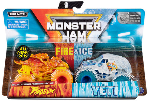 Monster Jam Fire & Ice Wildfire & Yeti Exclusive Diecast Car 2-Pack [Special Edition]