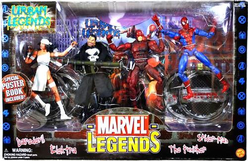 Marvel Legends Urban Legends Action Figure 4-Pack [Daredevil, Elektra, Punisher & Spider-Man, Damaged Package]
