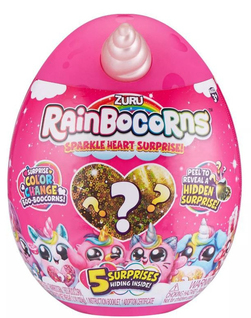 Rainbocorns Sparkle Heart Surprise Series 1 RANDOM Style Mystery Slow Rise Plush [5 Surprise Inside!]