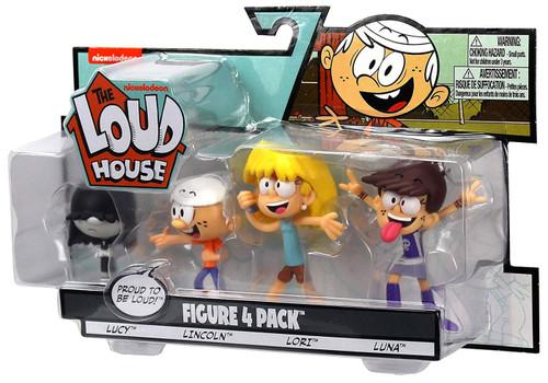Nickelodeon Loud House Lucy, Lincoln, Lori & Luna 3-Inch Figure 4-Pack