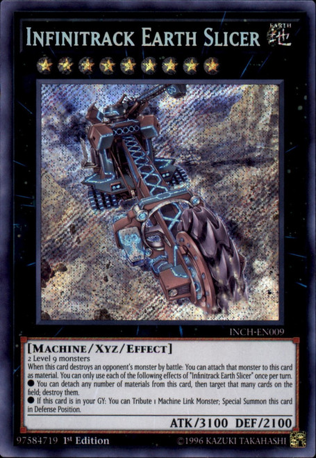 YuGiOh The Infinity Chasers Secret Rare Infinitrack Earth Slicer INCH-EN009