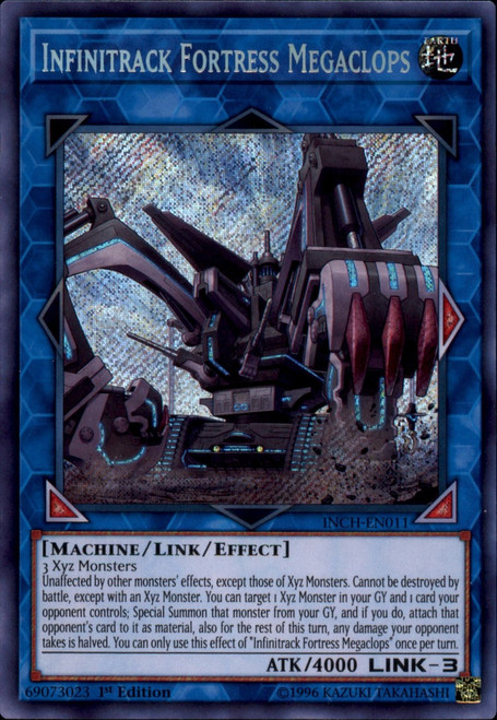 YuGiOh The Infinity Chasers Secret Rare Infinitrack Fortress Megaclops INCH-EN011