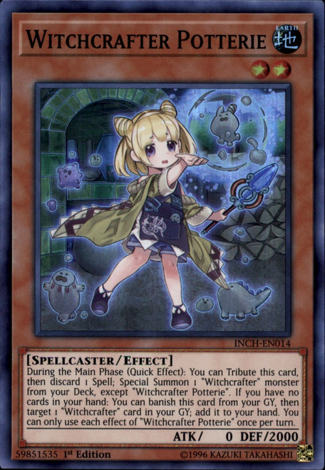 YuGiOh The Infinity Chasers Super Rare Witchcrafter Potterie INCH-EN014