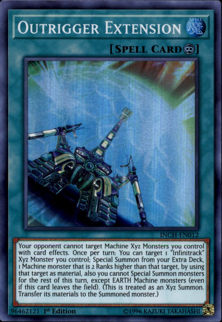 YuGiOh The Infinity Chasers Super Rare Outrigger Extension INCH-EN012