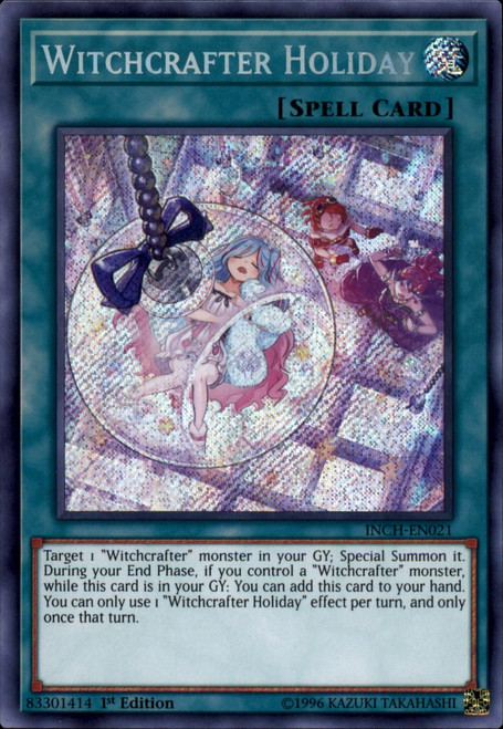 YuGiOh The Infinity Chasers Secret Rare Witchcrafter Holiday INCH-EN021