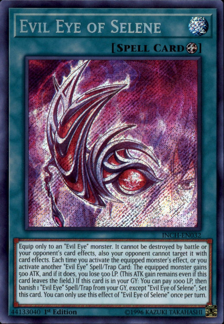 YuGiOh The Infinity Chasers Secret Rare Evil Eye of Selene INCH-EN032