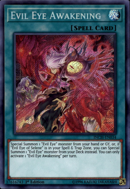 YuGiOh The Infinity Chasers Secret Rare Evil Eye Awakening INCH-EN034