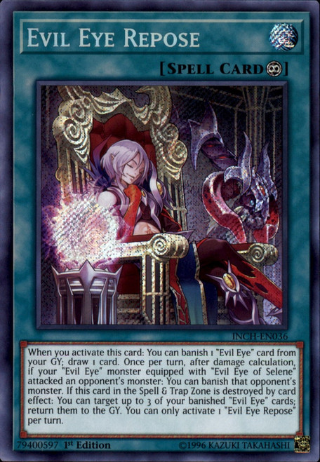 YuGiOh The Infinity Chasers Secret Rare Evil Eye Repose INCH-EN036