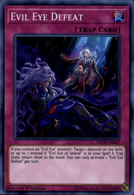 YuGiOh The Infinity Chasers Super Rare Evil Eye Defeat INCH-EN037