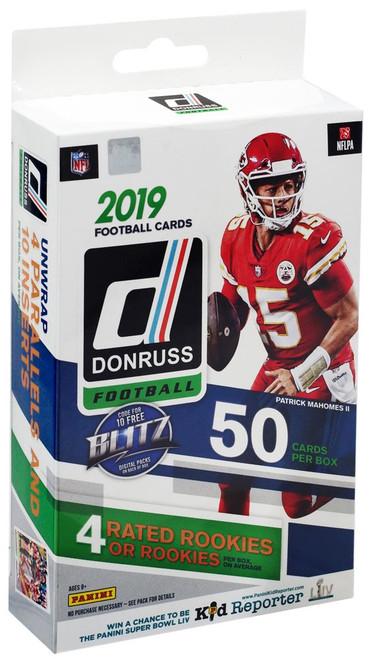 NFL Panini 2019 Donruss Football Trading Card HANGER Box [50 Cards, 4 Rated Rookies!]