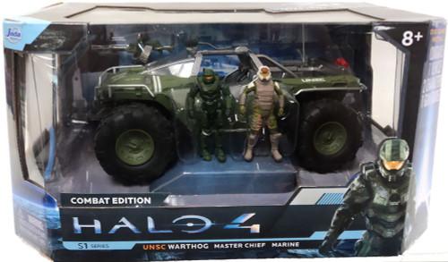 Halo 4 S-1 Series UNSC Warthog with Master Chief & Marine 7-Inch Diecast Set #96620 [Flat Green]